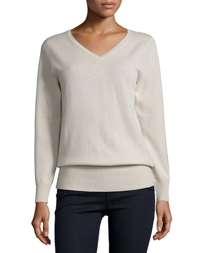 Neiman Marcus Cashmere Collection Long-Sleeve V-Neck Relaxed-Fit
