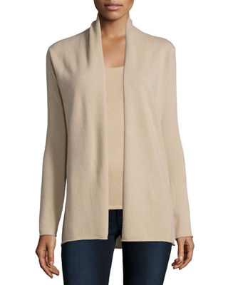 Neiman Marcus Cashmere Collection Cashmere Draped Cardigan, Plus