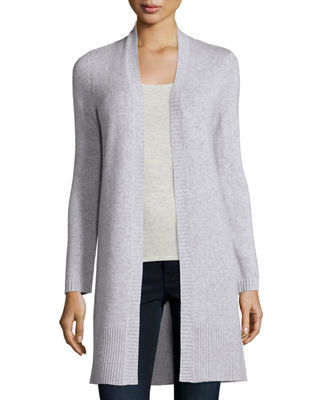 Neiman Marcus Cashmere Collection Long Rib-Trimmed Open-Front