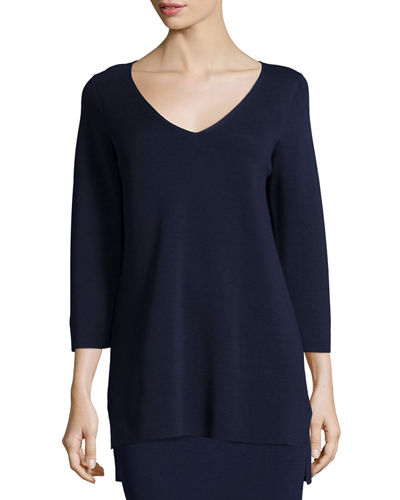 Eileen Fisher 3/4-Sleeve V-Neck Interlock Tunic