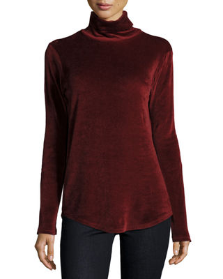 Majestic Paris for Neiman Marcus Long-Sleeve Velour Turtleneck