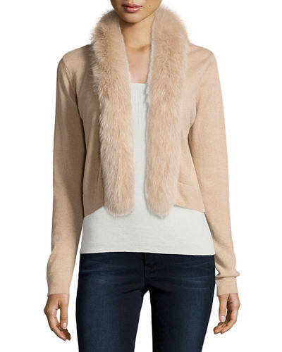Neiman Marcus Cashmere Collection Cashmere Fur-Trim Shrug