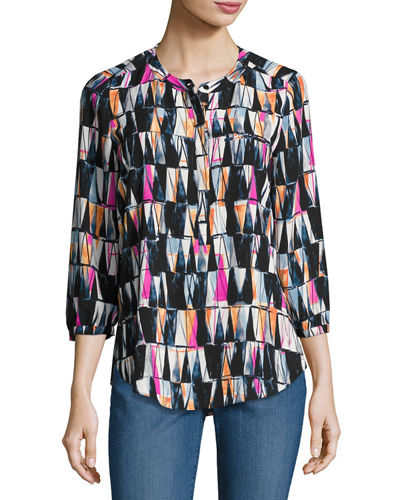 NYDJ Pleated-Back Chiffon Blouse