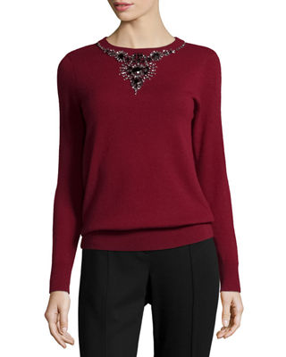 Magaschoni Jeweled Cashmere Crewneck Sweater