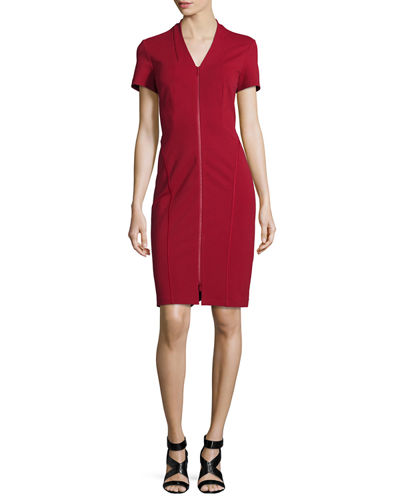 Zip-Front Short-Sleeve Sheath Dress, Plus Size