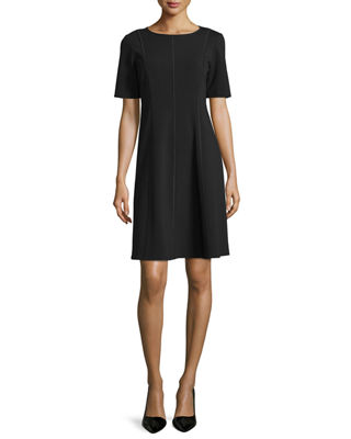 Image 1 of 4: Seamed Short-Sleeve Fit & Flare Dress, Plus Size