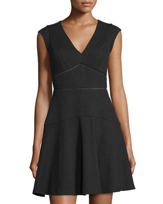 Rebecca Taylor Taylor Cap-Sleeve V-Neck Dress
