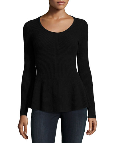 Neiman Marcus Cashmere Collection Cashmere Peplum Sweater