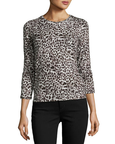 Animal-Print Long-Sleeve Crewneck Sweater