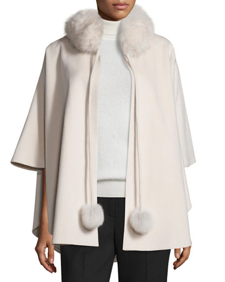 Belle Fare  CASHMERE FUR-TRIM CAPE