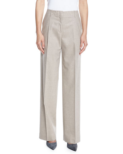 Lafayette 148 New York Rivington High-Waist Full-Leg Wool-Blend