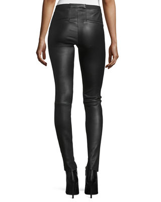 Image 2 of 4: Leather Ankle Leggings