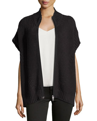 PURE HANDKNIT Katherine Zip-Front Sweater Poncho in Black