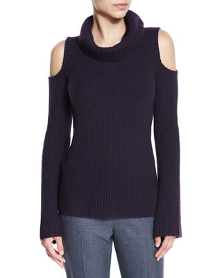 Elie Tahari Torrence Cashmere Cowl-Neck Cold-Shoulder Ribbed