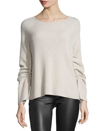 Helmut Lang Ribbed Ruched-Sleeve Sweater