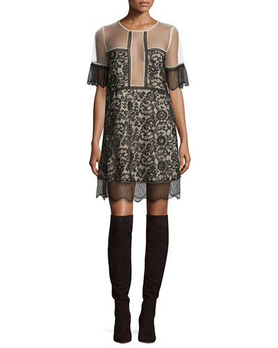 Kendall + Kylie Paneled Floral-Lace Babydoll Dress