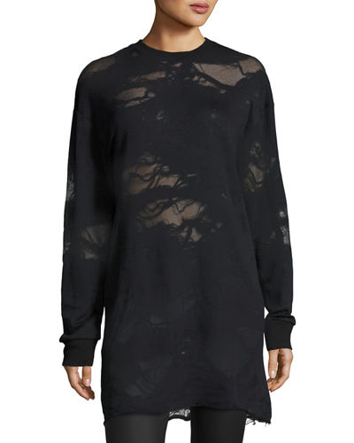 Kendall + Kylie Deconstructed Terry Tunic Sweatshirt