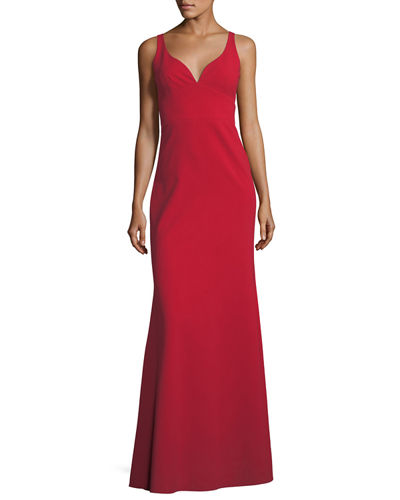 Sleeveless Crepe Faux Sweetheart Gown