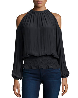 Ramy Brook Lauren Cold-Shoulder Smocked-Waist Top