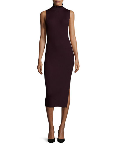 Hedrisa Lustrate Ribbed-Knit Mock-Neck Dress