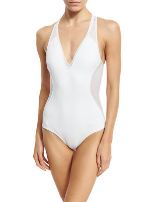 Neoprene & Mesh One-Piece Swimsuit
