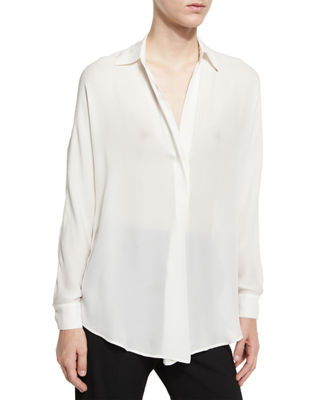 Vince Shirred Silk Popover Top