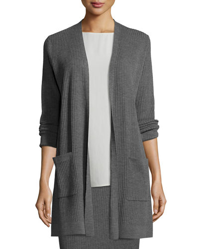 Washable Wool Ribbed Long Cardigan, Petite