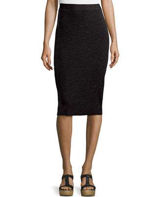 Image 1 of 2: Washable Wool Ribbed Pencil Skirt