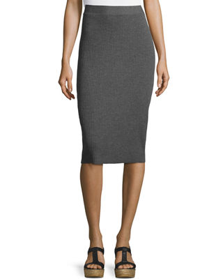 Eileen Fisher Washable Wool Ribbed Pencil Skirt