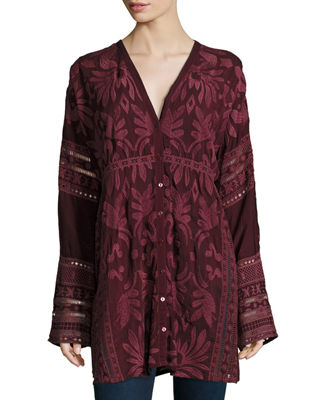 Cam Long-Sleeve Embroidered Tunic