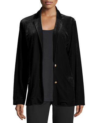 Image 1 of 3: Velvet Two-Button Blazer, Petite