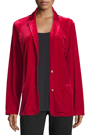 Joan Vass Petite Velvet Two-Button Blazer