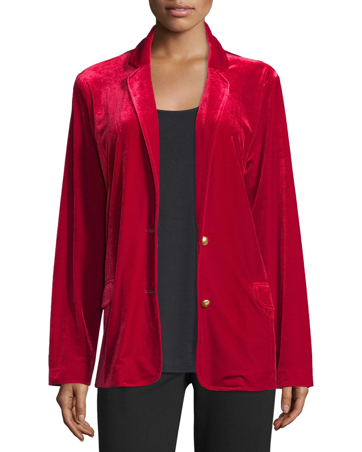 Joan Vass Plus Size Velvet Two-Button Blazer