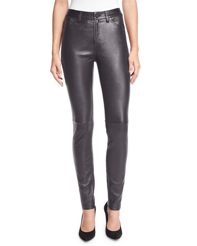 Neiman Marcus Stretch Lambskin Leather Skinny Jeans