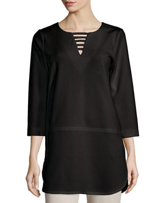 Joan Vass 3/4-Sleeve Lattice-Trim Tunic