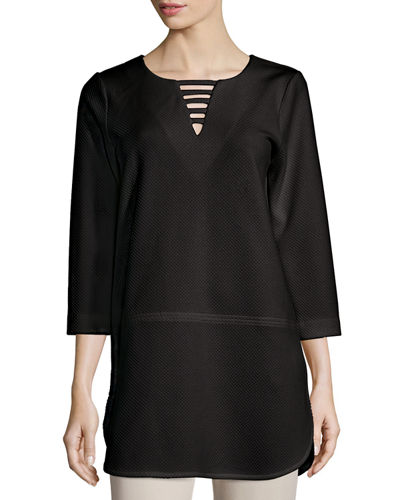 Joan Vass 3/4-Sleeve Lattice-Trim Tunic, Plus Size