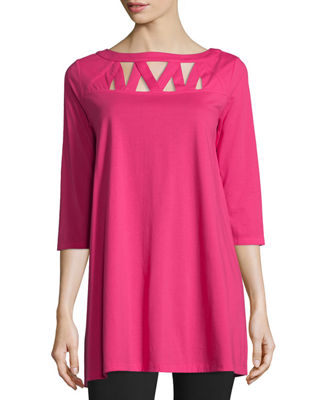 Joan Vass 3/4-Sleeve Yoke-Cutout Tunic, Petite