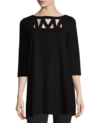 Joan Vass 3/4-Sleeve Yoke-Cutout Tunic, Plus Size