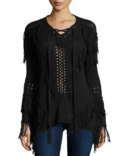 Hiche Fringe Open-Knit Lace-Up Sweater