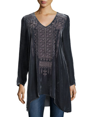 Sassi Long-Sleeve Velvet Tunic