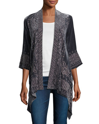 Johnny Was 3/4-Sleeve Velvet Draped Cardigan