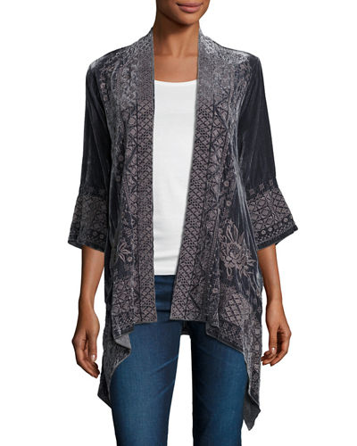 3/4-Sleeve Velvet Draped Cardigan