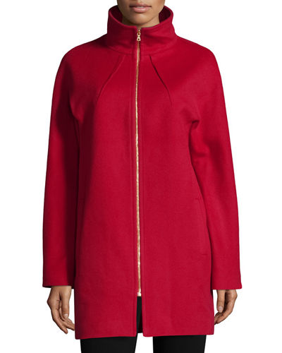 Neiman Marcus Two-Way Zip-Front Wool Jacket