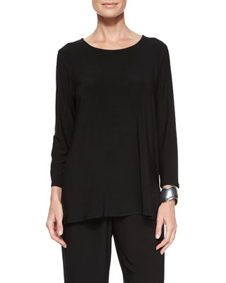 Image 1 of 2: 3/4-Sleeve Stretch-Knit Top