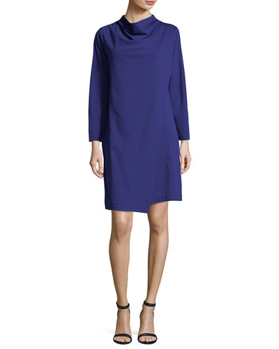 Long-Sleeve Drape-Front Knit Dress, Petite
