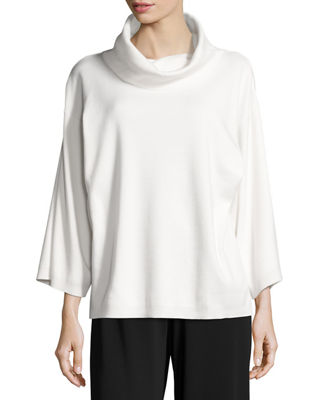 Joan Vass Cowl-Neck Boxy Cotton Top