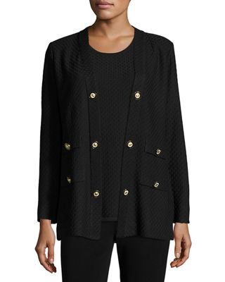 Misook Textured Straight-Cut Knit Jacket