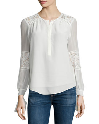 Silk and Lace Blouse Chalk Rebecca Taylor