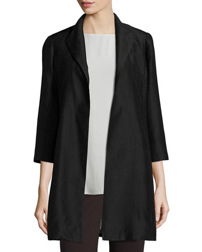 Eileen Fisher High-Collar Silk Ravine Coat
