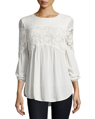 Aubree Floral-Crochet Top, Plus Size